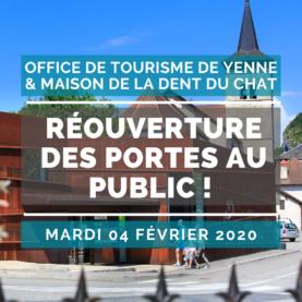 On Tuesday 04 February, the Yenne Tourist Office - Maison de la Dent du Chat reopens its doors to the public!